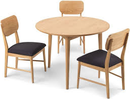 skean solid oak round dining set with 4 chairs 105cm
