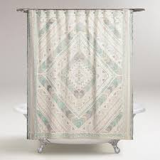 cost plus world market ivory and blue diamond yasmine shower curtain white cotton by
