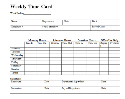 Printable Weekly Time Cards Time Cards Template Free 3323