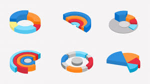 3d Isometric Of Colorful Pie Chart Collection Vector