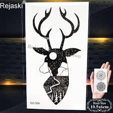 олени временные татуировки черный олень волк олень мужчины татуировки наклейки