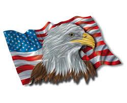 patriotic eagle flag metal wall hanging zoom to enlarge
