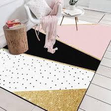 modern geometric pink white golden black polka dots door mat bathroom parlor living room bedroom home decorative carpet area rug plush carpet s