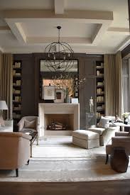Transitional interior design ideas Paint Transitional Interior Design Transitional Style Living Room Coffered Ceiling Brown Walls And Bookcases Belle Vivir Transitional Design Transitional Style Living Rooms