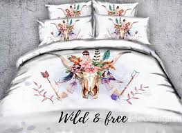 65 3d cow skull with feathers printed 4 piece white bedding sets duvet covers