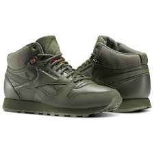 reebok high tops. reebok - classic leather mid twd hunter green / stone grey energy orange bs8327 high tops e