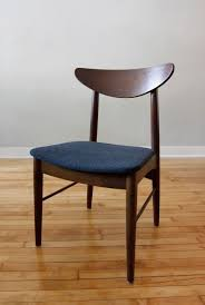 Furniture: Appealing Mid Century Dining Chair With Navy Blue Cushion - Mid  Century Dining Chairs