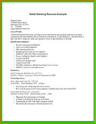 Basic Cv Templates Retail Banking Resume Example Banker Examples