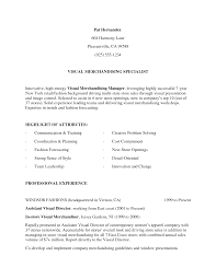 Resume Resume Visual Merchandiser