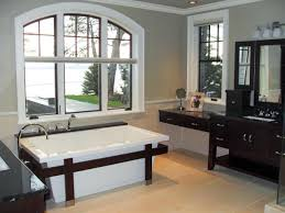 astounding bathroom colors. Astounding Grey Small Bathroom Design With Glass Window Over White Rectangle Acrylic Bathtub Using Brown Varnished Wooden Frame On Tiles Flooring Colors L