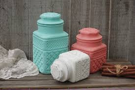 Green Canister Sets Kitchen Canister Set Shabby Chic Mint Green Coral White Glass