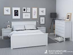Queen Bedroom Furniture Dandenong Queen Bed Frame White Modern B2c Furniture