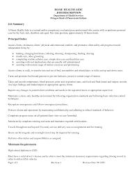 Home Aide Sample Resume Home Health Aide Duties And Responsibilities Resume Www 15