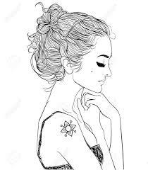 若くてきれいな女性の横顔の肖像画