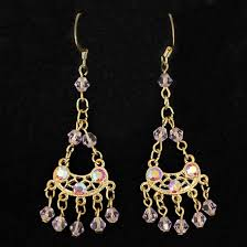picture of earrings gold tone dangle chain earring with swarovski crystal beads light rose