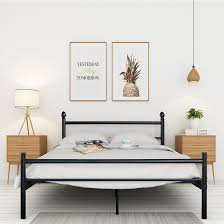 VECELO Platform Bed Frame,Queen/Full/Twin Size Metal Beds Mattress Foundation with Headboard and Footboard