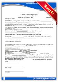 Free Printable Catering Services Agreement Form Generic