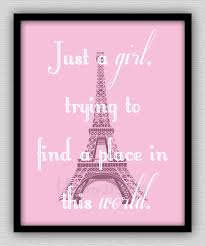 Paris Bedroom Accessories Just A Girl Trying To Find A Place In This World Wall Decor