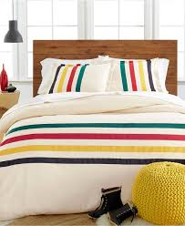 stylishly versatile in it s simplicity the glacier duvet cover features an iconic pendleton design of colorful solid stripes across an ivory ground of pure