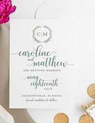 Save The Date For Wedding Eucalyptus Monogram Save The Date