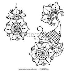set of mehndi flower pattern for henna drawing and tattoo decoration in ethnic oriental