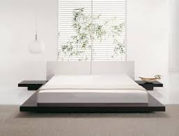 Bed Frames Low Profile Wooden Modern King Size Frame White Leather