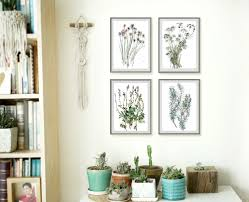 nart flower drawing set of 4 prints herb wall art chives rosemary basil and parsley