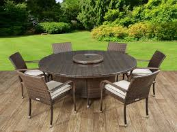 roma 6 rattan garden chairs large round table and lazy susan set in chocolate and