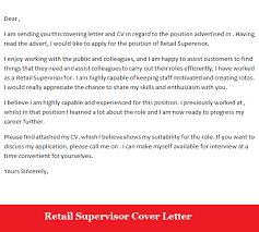 Gallery Of Retail Supervisor Job Application Cover Letter Sample