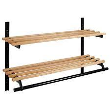 48 Coat Rack New WallMounted DoubleShelf Wooden Coat Rack 32 Inches 3232032