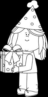 birthday present clip art black and white. Modren Art Black And White Birthday Girl With Gift In Present Clip Art And