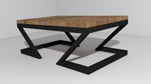 zigzag coffee table 3d model low poly obj 3ds fbx 1