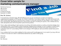 Marketing Communications Manager Cover Letter