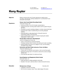 Sample Resume For Musician Sample Music Resume For College