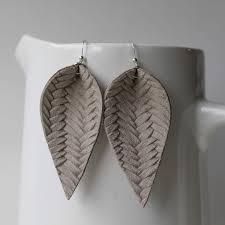 com genuine leather sterling silver leaf earrings warm grey braided joanna gaines inspired handmade