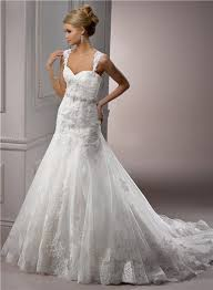 line sweetheart tulle lace wedding dress with detachable straps