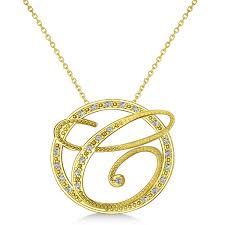 diamond circle script initials pendant necklace 14k yellow