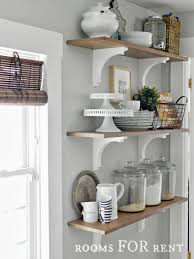 Open Shelf Kitchen Decorating With Glass Canisters In The Kitchen Grey Walls The