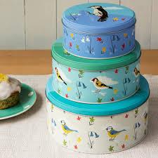 Designer Cake Tins Set Of 3 Garden Birds Cake Tins