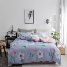 beautiful blue flowers duvet cover set twin queen king size 100 pink bed sheet pillow case quilt cover for girls bed bedding and linens bedroom duvet
