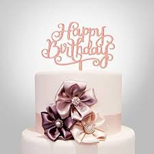 Amazoncom Happy Birthday Cake Topper Rose Gold Acrylic