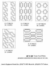 Tent Seating Chart 20x30 Tent Table Layout For Up To 70 People In 2019