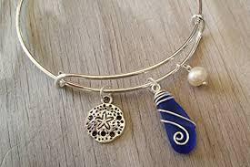 handmade in hawaii wire wrapped cobalt blue sea gl bracelet sand dollar charm beach gl bracelet sea gl jewelry