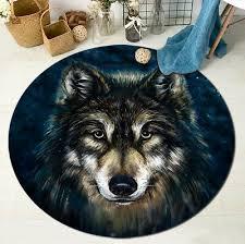 round floor mat kids bedroom carpet living room area rugs wild wolf gaze design