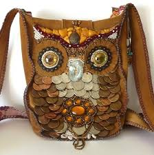 bead embroidered owl purse