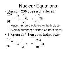 nuclear equations uranium 238 does alpha decay