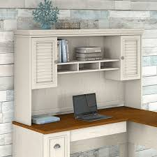 white l shaped desk with hutch. Plain Hutch Bush Furniture Fairview Hutch For L Shaped Desk In Antique White In With H