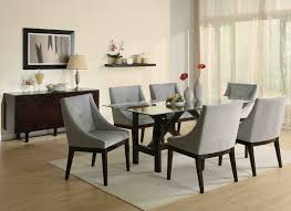 contemporary glass dining room sets light purple fl centerpieces six grey chair set modern top table
