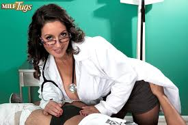 MILF Tugs The doctor has big tits a hairy pussy and a dick.
