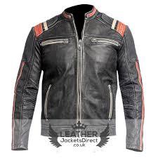 men s vintage motorcycle cafe racer biker red black distressed genuine leather jacket leatherjackets